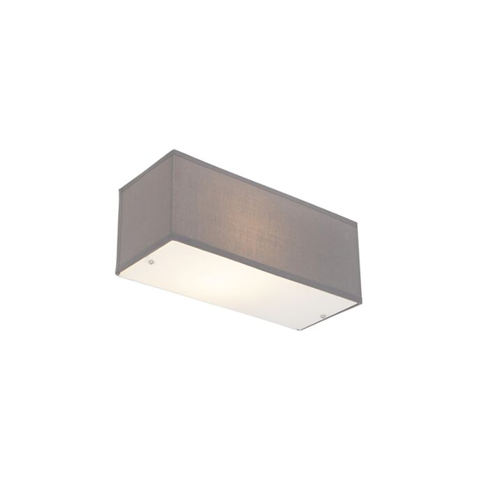 Moderne-wandlamp-rechthoekig-grijs---Drum