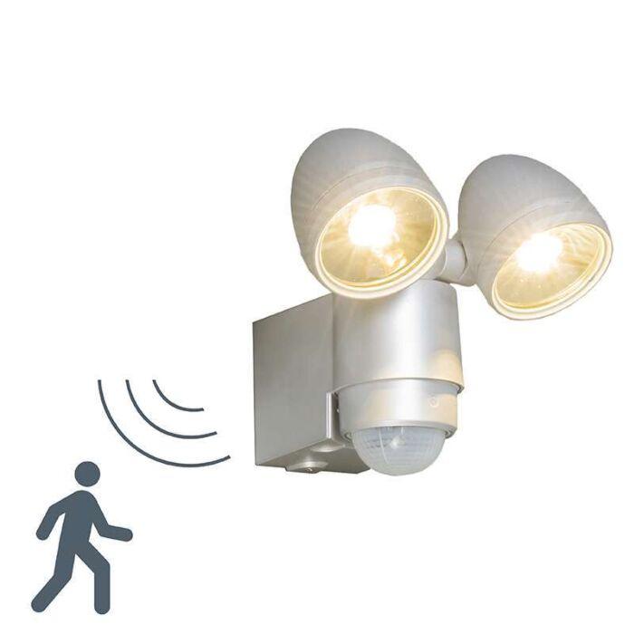 Buitenlamp-VAP-Duo-zilvergrijs-met-bewegingsmelder
