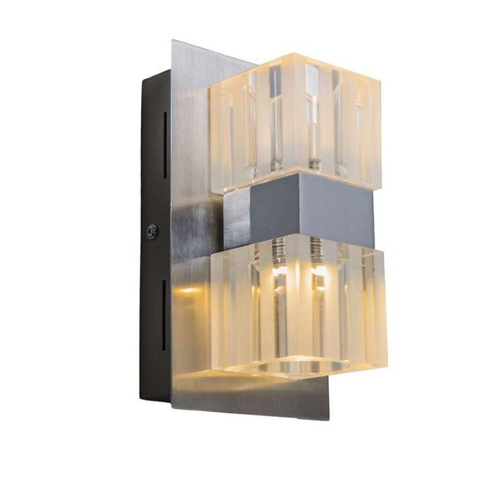 Wandlamp-Dice-2-LED-chroom
