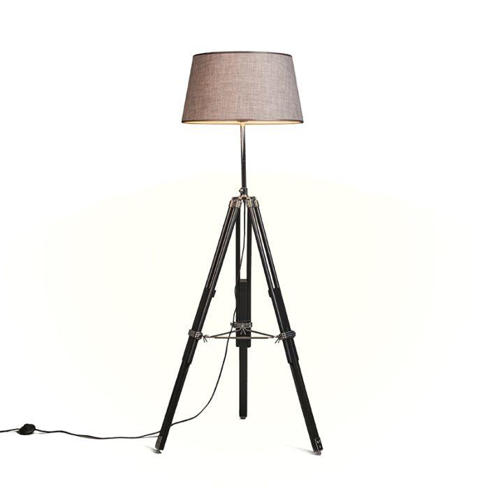 Vloerlamp-Tripod-zwart-met-kap