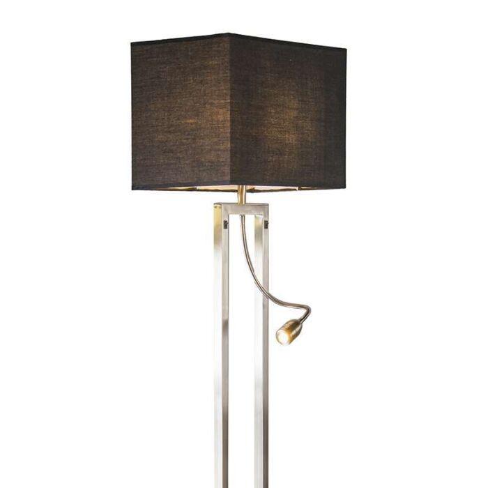Vloerlamp-Bergamo-staal-met-kap-zwart