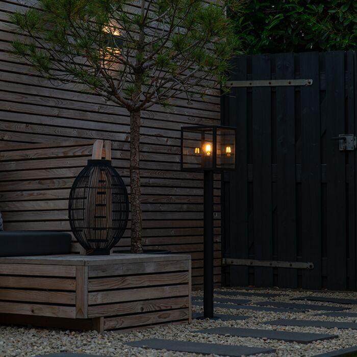 Moderne-buitenlamp-paal-zwart-100-cm---Rotterdam