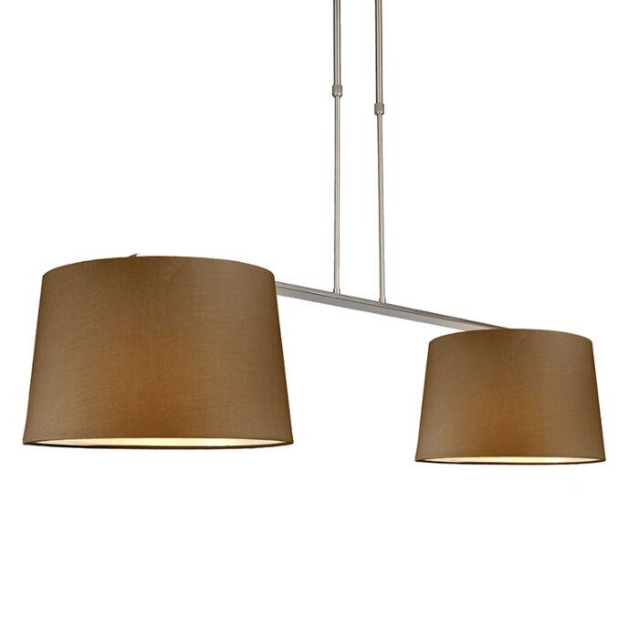 Hanglamp-Combi-Delux-2-kap-rond-40cm-bruin