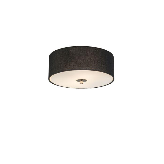 Landelijke-plafondlamp-zwart-30-cm---Drum-Jute