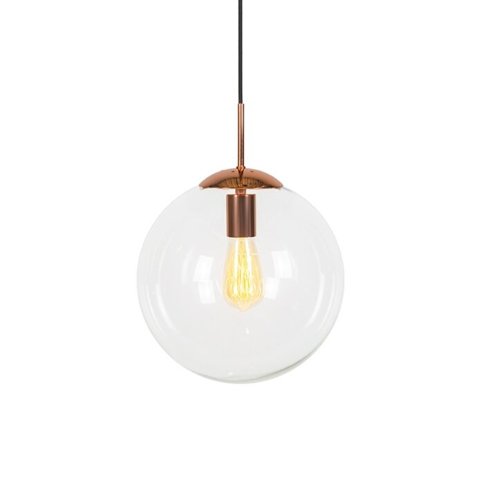 Art-deco-hanglamp-koper-met-helder-glas-30-cm---Ball-30