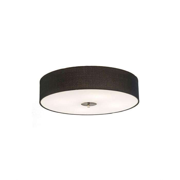 Landelijke-plafondlamp-zwart-50-cm---Drum-Jute