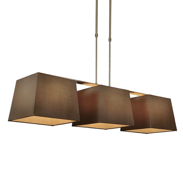 Hanglamp-Combi-Delux-3-kap-vierkant-30cm-bruin