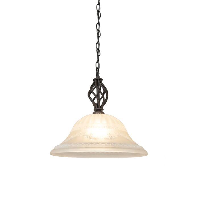 Landelijke-hanglamp-roestbruin-met-glas---Elegant-1