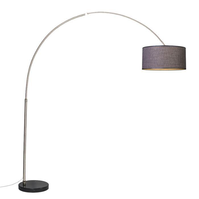 Booglamp-XXL-staal-kap-50cm-recht-bruin-grijs