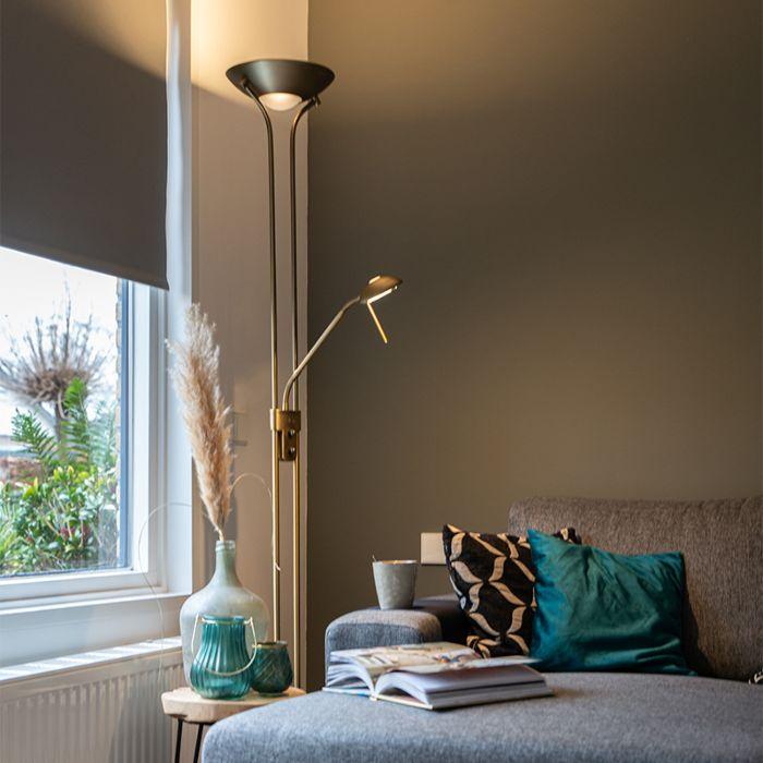 Vloerlamp-brons-met-leeslamp-incl.-LED-en-dimmer---Diva-2