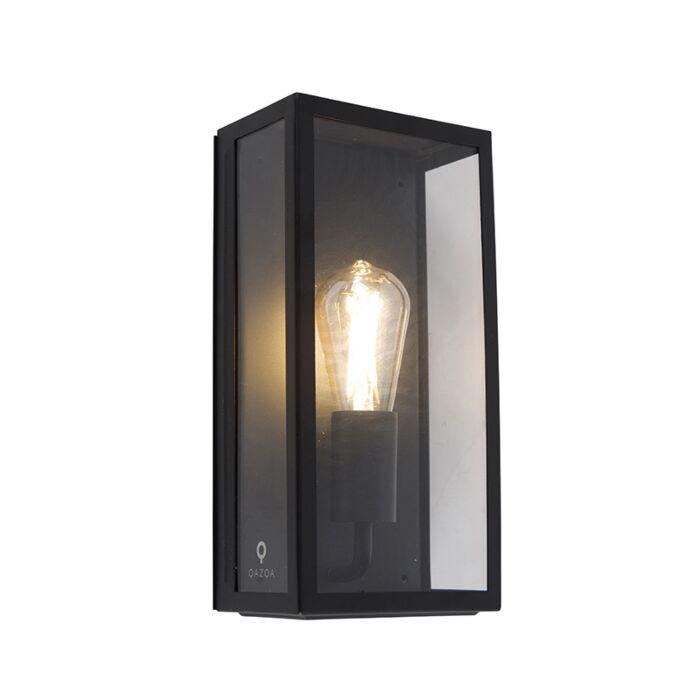 Industriële-rechthoekige-buitenwandlamp-zwart-met-glas-IP44---Rotterdam