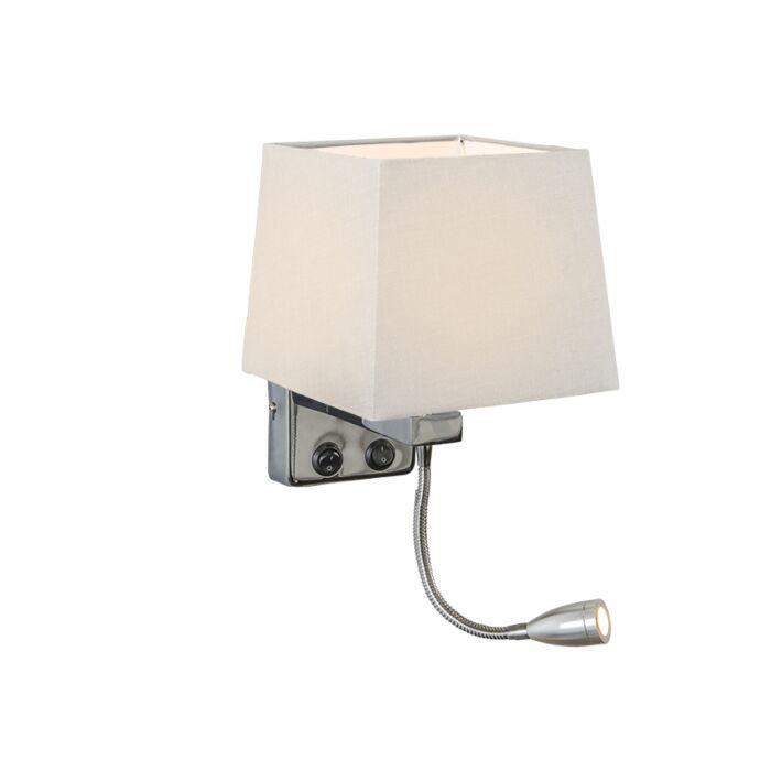 Wandlamp-Brescia-chroom-met-kap-vierkant-wit