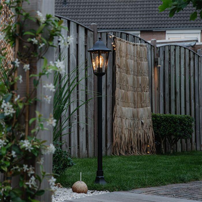 Klassieke-staande-buitenlamp-zwart-IP44-125-cm---New-Orleans