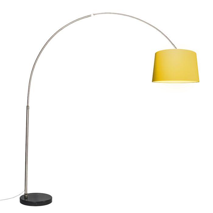 Booglamp-XXL-staal-kap-50cm-schuin-geel