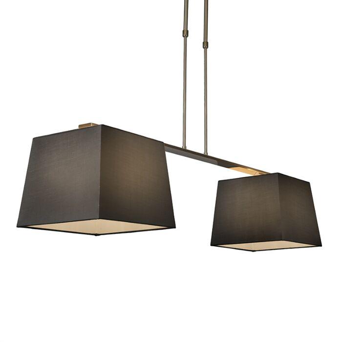 Hanglamp-Combi-Delux-2-kap-vierkant-30cm-zwart