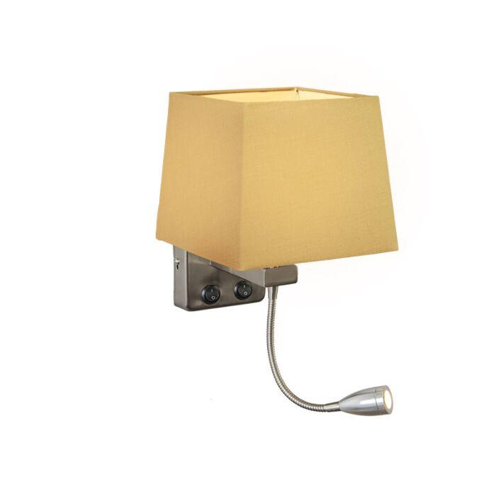 Wandlamp-Brescia-staal-met-kap-vierkant-beige