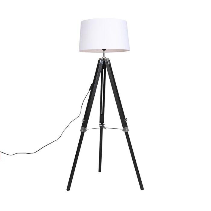 Vloerlamp-zwart-met-wit-linnen-kap-45-cm---Tripod
