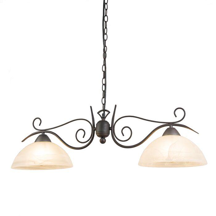 Landelijke-hanglamp-roestbruin-met-glas---Dallas-2