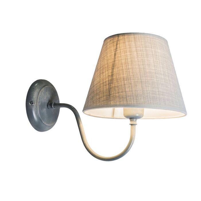Wandlamp-Silea-UP-met-kap-antiek-grijs