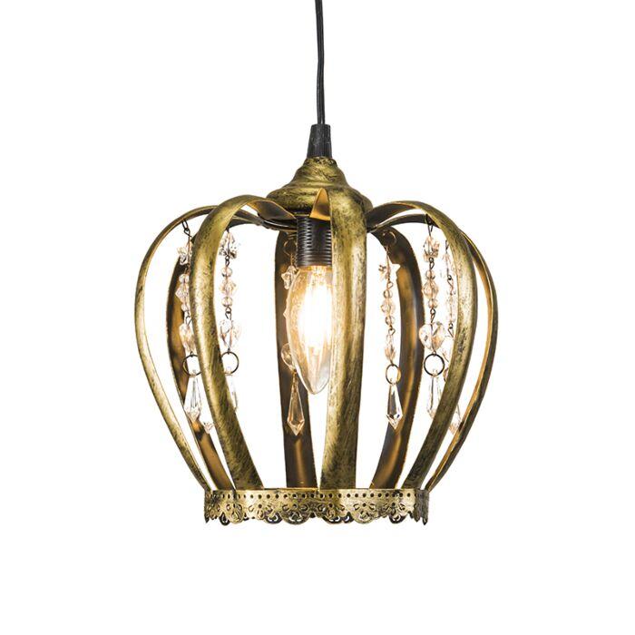 Hanglamp-Crown-antiek-goud