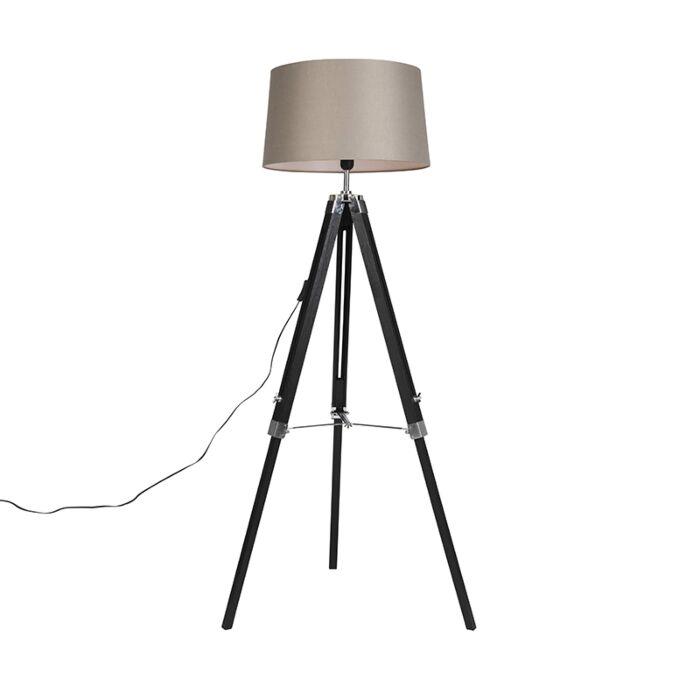 Vloerlamp-zwart-met-taupe-linnen-kap-45-cm---Tripod