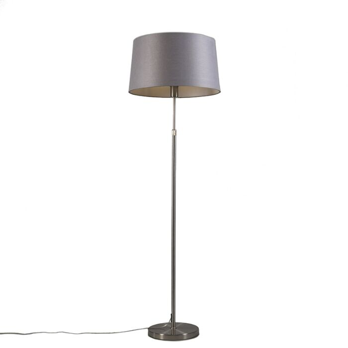 Vloerlamp-staal-met-kap-grijs-45-cm-verstelbaar---Parte
