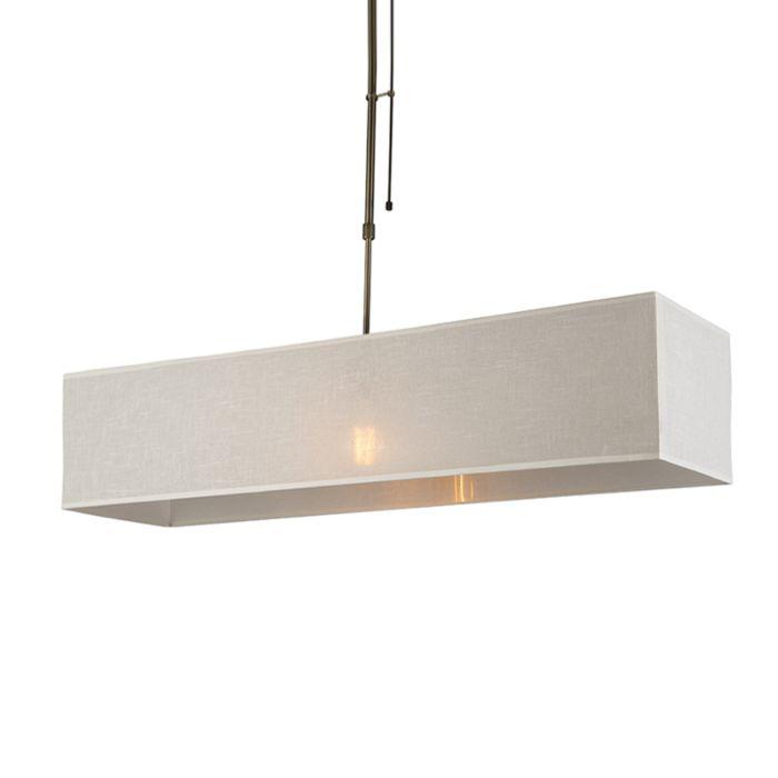 Hanglamp-Mix-1-brons-dimbaar-met-rechthoekige-kap-creme