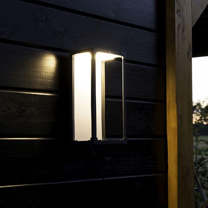 Moderne-rechthoekige-buitenwandlamp-donkergrijs-met-wit---Rotterdam