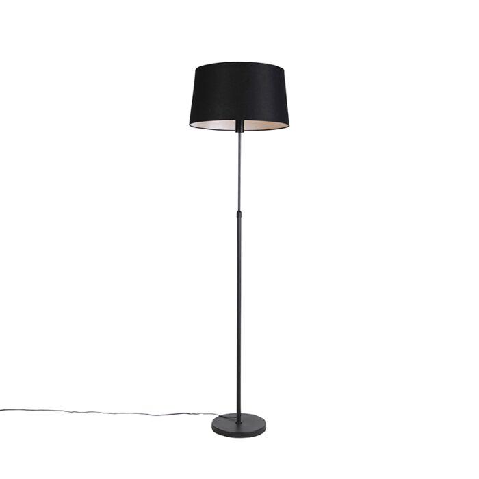 Vloerlamp-zwart-met-zwarte-linnen-kap-45cm-verstelbaar---Parte
