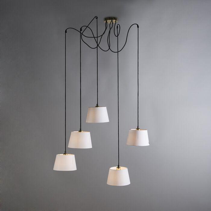 Hanglamp-Cava-5-goud-met-witte-kappen