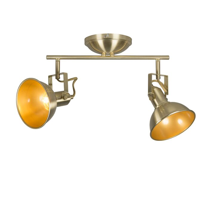 Plafondspot-goud/messing-2-lichts-draai--en-kantelbaar---Tommy