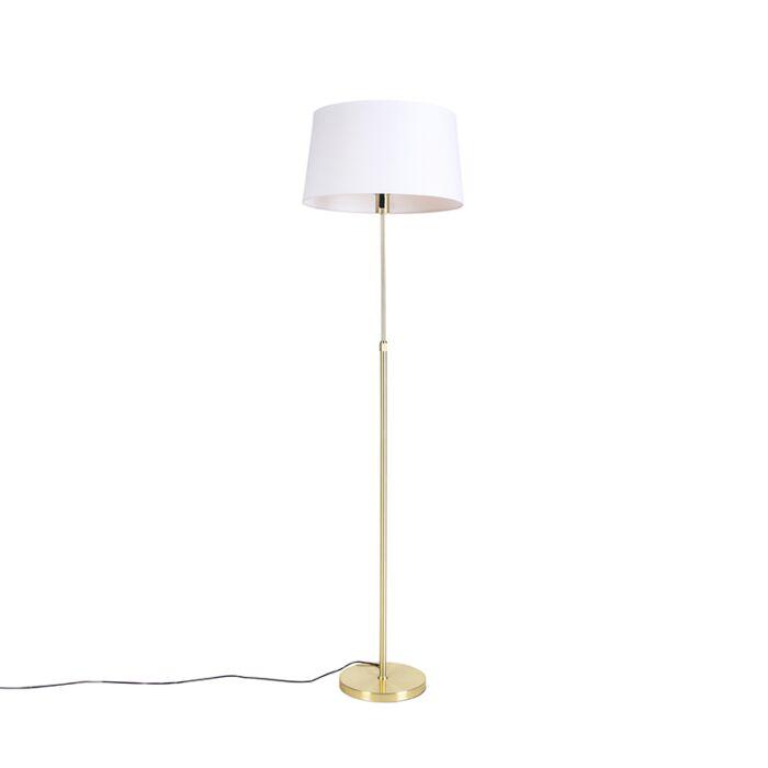 Vloerlamp-goud/messing-met-linnen-kap-wit-45-cm---Parte