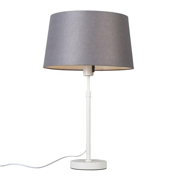 Tafellamp-wit-met-kap-grijs-35-cm-verstelbaar---Parte
