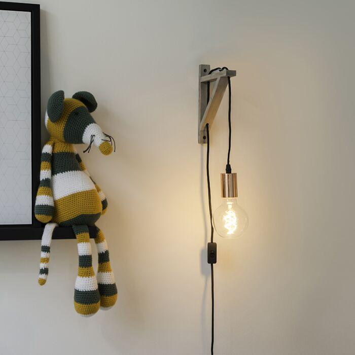Wandlamp-taupe-met-koper---Galgje
