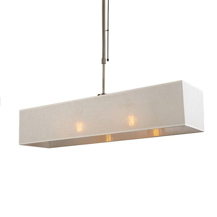 Hanglamp-Mix-2-brons-dimbaar-met-rechthoekige-kap-creme