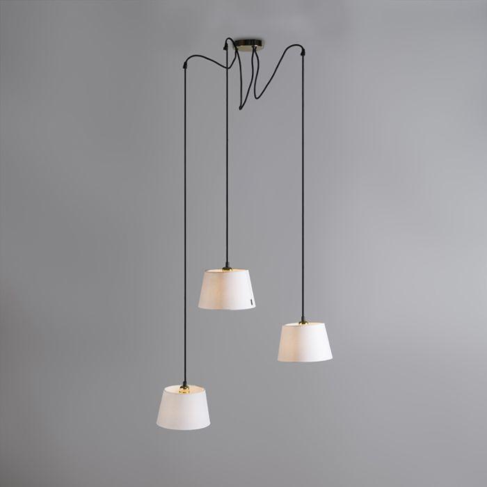 Hanglamp-Cava-3-goud-met-witte-kappen