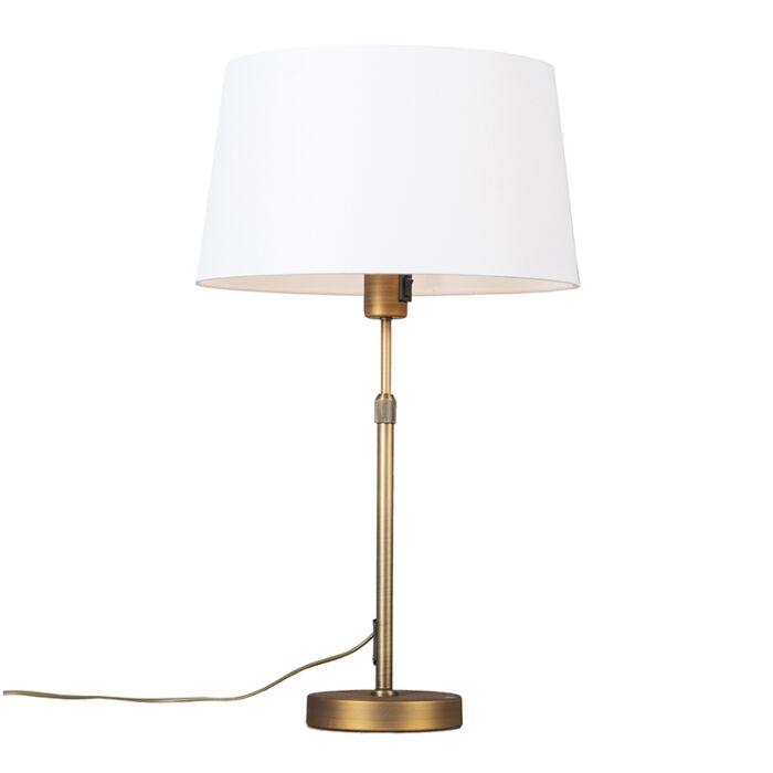 Tafellamp-brons-met-kap-wit-35-cm-verstelbaar---Parte