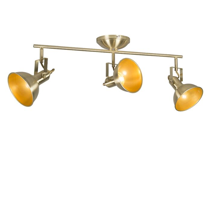 Plafondspot-goud/messing-3-lichts-draai--en-kantelbaar---Tommy