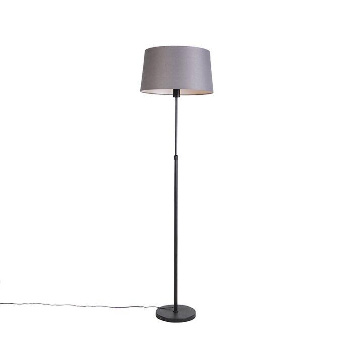 Vloerlamp-zwart-met-donkergrijze-linnen-kap-45-cm---Parte