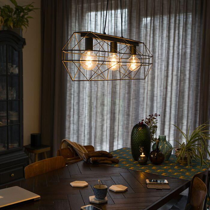 Industriële-hanglamp-zwart-3-lichts---Carcass