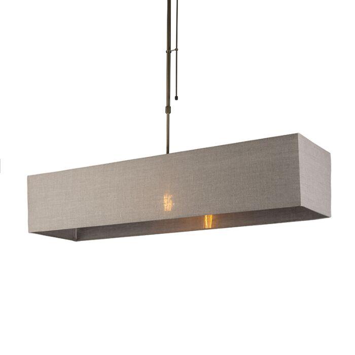 Hanglamp-Mix-1-brons-dimbaar-met-rechthoekige-kap-lichtbruin