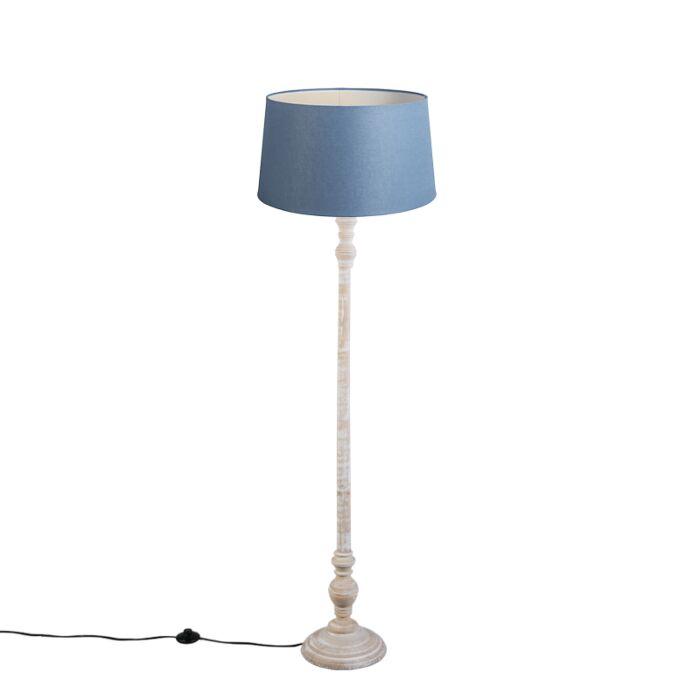 Vloerlamp-Classico-met-blauwe-linnen-kap-45cm