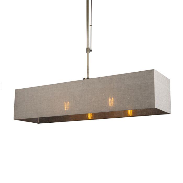 Hanglamp-Mix-2-brons-dimbaar-met-rechthoekige-kap-lichtbruin