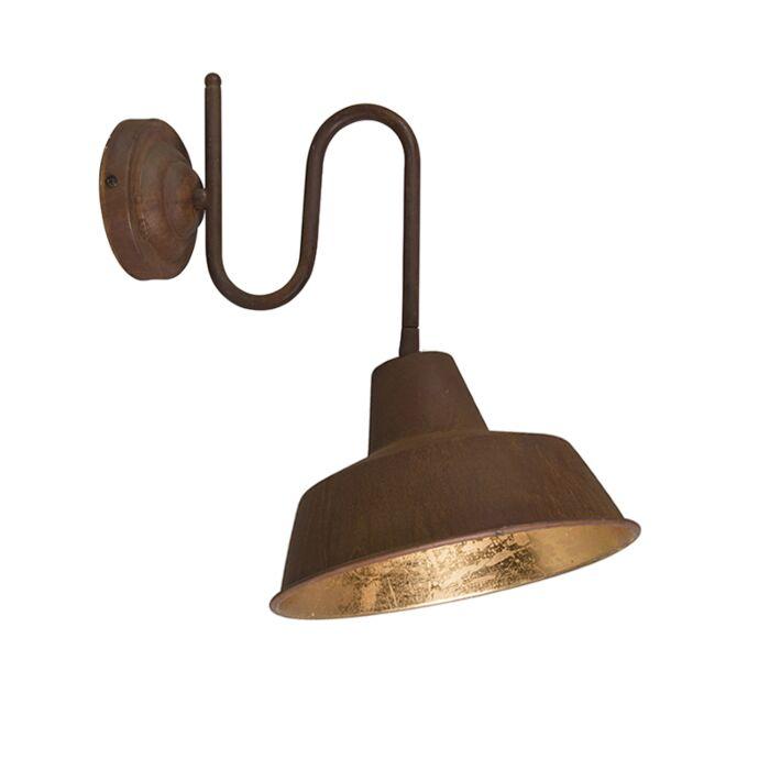 Industriële-wandlamp-roest-met-gouden-binnenkant---Factory
