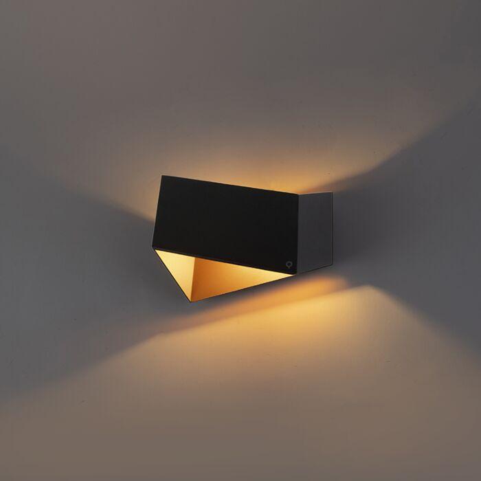 Design-wandlamp-zwart-met-goud---Fold