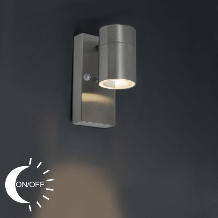 Buitenwandlamp-staal-IP44-met-licht-donker-sensor---Solo