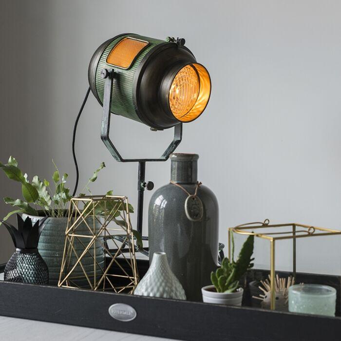 Vintage-filmspot-vloerlamp-antiek-groen-met-brons-60-cm---Byron