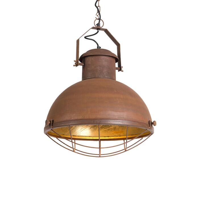 Hanglamp-Engine-roest-met-gouden-binnenkant