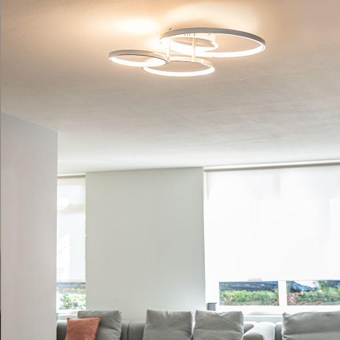 Moderne-plafondlamp-wit-incl.-LED-en-dimmer--Rondas