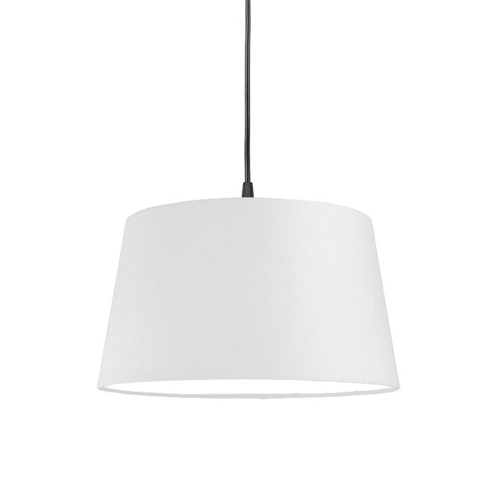 Moderne-hanglamp-zwart-met-witte-kap-45-cm---Pendel